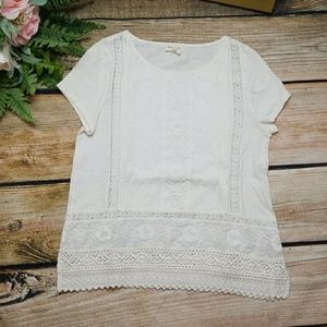 Anthropologie Meadow Rue Ivory Lace top